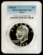 1973-s Silver Eisenhower Dollar Pcgs Pr69dcam - A Top Ike Source In The Usa