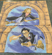 Vintage Lot Of 2 Harry Potter And Hermione Granger Double Sided Pillowcases