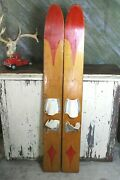 Vintage Antique Marmic Wood Water Skis 66 Rare Old Lake Cabin Decor Wisconsin