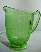 Vintage Green Depression Cherry Blossom Pattern By Jeanette Glass Pitcher