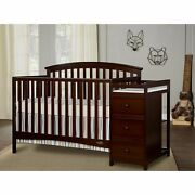 5 In 1 Side Convertible Crib Changer Nursery Furniture Baby Toddler Bed Expresso