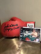 Jake Lamotta Signed Red Boxing Glove Inscribed Raging Bull Authenticated