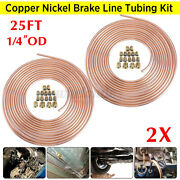 2x Copper Brake Line Tubing Kit 1/4 Od 25 Ft Coil Roll Universal Fit And 32x Nuts