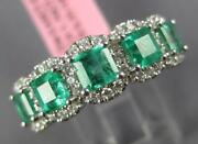 Wide 2.12ct Diamond And Aaa Emerald 18kt White Gold 5 Stone Halo Anniversary Ring