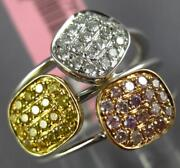 Wide .62ct White Canary And Pink Diamond 18kt Tri Color Gold Multi Square Fun Ring
