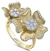 Estate Wide .70ct Diamond 18kt White And Yellow Gold 3d Double Flower Love Ring