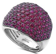 Estate Wide 4.0ct Aaa Ruby 18kt White And Black Gold Multi Row Classic Love Ring