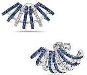 Estate 1.25ct Diamond And Aaa Sapphire 18kt White Gold Umbrella Hanging Earrings
