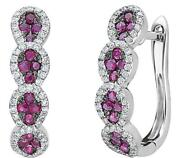.84ct Diamond And Aaa Ruby 18kt White Gold 3d Tear Drop Huggie Hanging Earrings