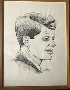 Original Framed Indian Ink Drawing Of John F Kennedy. Print Size 12x16.andnbsp