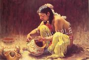 Decorating Pottery Non-native American Indian Image Canvas Art Print Giclee