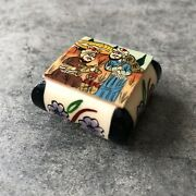 Trinket Ring Box Bovine Bone Carved Hand Painted Sikh Indian Muslim Art Small