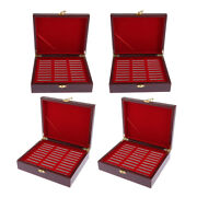 4pcs Wooden Coin Storage Box Case Collector Holds 30pcs Coins 46mm Medals