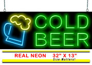 Cold Beer Neon Sign | Jantec | 32 X 13 | Ice Drinks Sports Bar Club Garage Pub