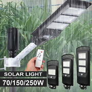 Led Wall Street Light Solar Panel Outdoor Garden Lamp+remote Control 70/150/250w