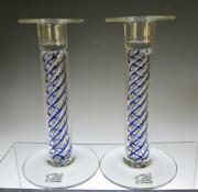 Pair Of Michael Mike Hunter Twists Spiral Air Twist Glass Candlesticks, Signed