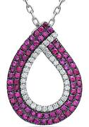 1.69ct Diamond And Aaa Ruby 18kt White Gold 3d Classic Open Tear Drop Love Pendant