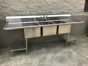Win-holt Commercial Three Bowl/compartment Sink Restaurant Equipment.