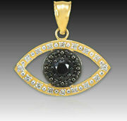 14k Real Yellow Gold Evil Eye With 16 Clear And 8 Black Diamond Pendant Necklace