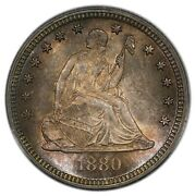 1880 25c Quarter Liberty Seated With Motto Pcgs Ms66 Cac