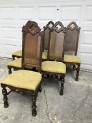 Drexel High Back Dining Chairs Wood True Vintage Quality Crafted Dark Mid Evil