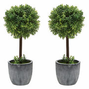 Set Of 2 Small Artificial Boxwood Topiary Trees/faux Plants W/gray Ceramic Pots