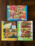 Springbok 1000 Pc Jigsaw Puzzles - Delicious Delights Collection - Lot Of 3