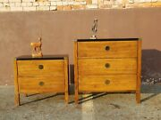 Mid Century American Of Martinsville Campaign Style Minimalist Side End Tables