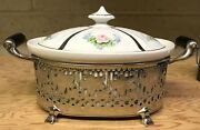 Vintage Royal Rochester Porcelain Silver Plate Casserole Serving Dish 1930and039s