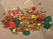 Lots Of Lincoln Logs And Plastic Parts Roofs Signs Doors Windows Gates Used