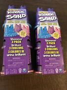 2 Kinetic Sand Shimmering Sand 3 Packs W Sandcastle Molds-never Dries Out Easter