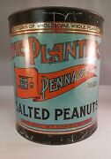 Vintage Advertising The Planters Brand Salted Peanuts Canister Tin 635-z