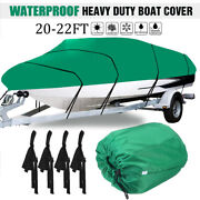 Heavy Duty Waterproof Boat Cover V-hull Fishing Ski Bass Runabouts 20ft-22ft Us