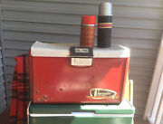 Vintage 1950s Thermaster Metal Red And Silver Cooler With Bonus Thermoses Aladdin