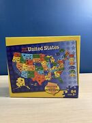 Jigsaw Puzzle Map Of The United States Shaped 84 Pieces Milton Bradley - New