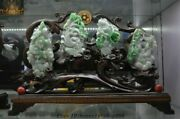Chinese Natural Emerald Jade Jadeite Carved Plum Orchid Bamboo Daisy Set Statue