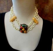 Bakelite Carved Fruit Necklace Art Deco Celluloid Chunky Statement Superb