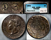 Nice Collection - Canada Large Cent - 1893 - Repunched 9 - Au58 B711