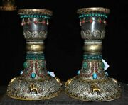 Old Tibet Crystal Silver Inlay Turquoise Coral Candlestick Candle Holders Pair