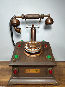 China Backflow Old Wood Inlay Gemstone Old-fashioned Pure Copper Telephone