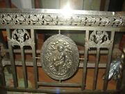 Antique French Art Deco Metal Bed Winged Cherubs Maiden And Roses Nickel Plateandnbspandnbsp