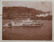 Ohio Steamer Sternwheeler Kanawha And West End Ferry - Cabinet Card Photo - As-is