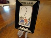 Fly Fisherman Sports Series Trout Fish Zippo Lighter Mint In Box