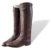 Hermes Chocolat Leather Womenand039s Jumping Equistrian Style Boots Sz 41 Bnib