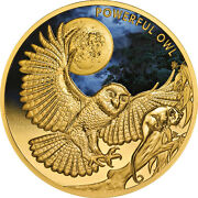 Niue 2018 Powerful Owl Endangered And Extinct 100 1 Troy Oz Pure Gold Color Proof