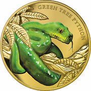 Niue 2019 Green Tree Python Remarkable Reptiles 100 1 Oz Pure Gold Color Proof