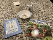 2 - Wedgwood And Bunnykins Coin Bank, Bowl, Tale Of Peter Rabbit Books, Set Of 5
