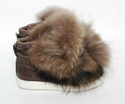 Santoni Women Brown Ankle Booties Leather Fur Thermal Winter Shoes Size Eur 37.5