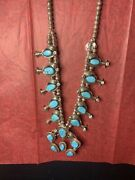 Heavy Vintage Navajo Sterling Silver And Turquoise Squash Blossom Necklace Art