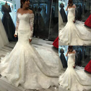 Off The Shoulder Lace Mermaid Wedding Dresses Long Sleeve Long Train Bridal Gown